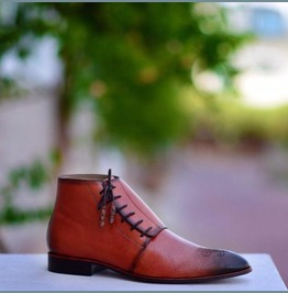 Handmade Men Lace Up Boots, Brown Leather Boots For Men, Men Chukka Boots