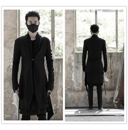 Black Men Mid Long Casual Trench Coat Personalised Overcoat