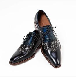 Gradation Blue Black Studded Lace Up Shoes 398