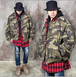 Wide Sleeves Camouflage Padded Zip Up Jacket 295
