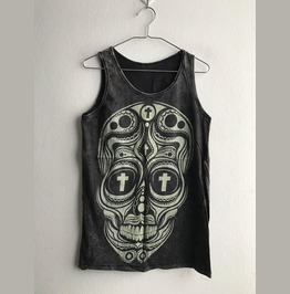 Skull Fashion Stone Wash Vest Tank Top M