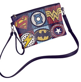 Punk Super Hero Logos Rivet Handbag Envelope Clutch Shoulder Bag Women