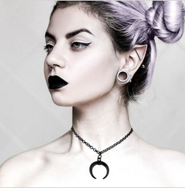 Black Crescent Moon Choker Necklace Goth