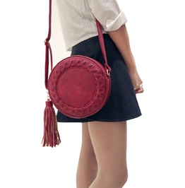 Boho Vintage Round Woven Tassel Shoulder Bag Women