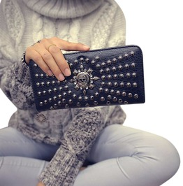 Vintage Skull Punk Rivets Long Wallet Clutch Bag Women