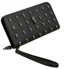 Punk Rock Metal Skulls Rivets Pu Leather Long Wallet Wristlet Women