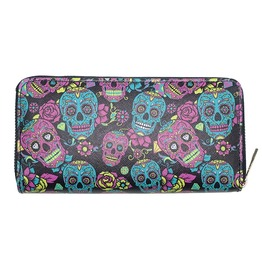 Pu Cartoon Skull Head Sugar Skulls Zipper Long Wallet Clutch Purse
