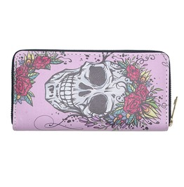 Punk Rock Sugar Skull Rose Crown Pu Leather Zipper Long Wallet Clutch Purse