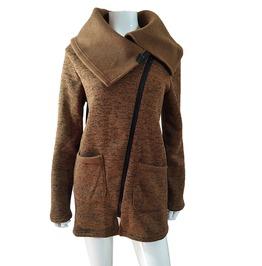 Autumn Winter Slant Zipper Wide Collared Overcoat Tops Jacket Women Coat