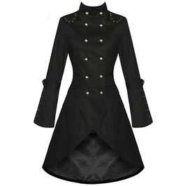 Black Vintage Gothic Asymmetric Coat Rivet Lace Up Slim Trench Women