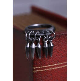 Punk Silver Ring With Dangling Spikes