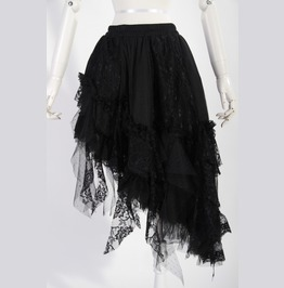 Gothic Lolita Black Half Long Skirt With Lace For Women