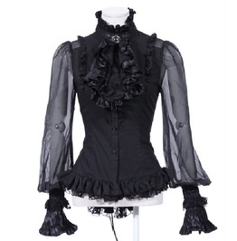 Gothic Black Adjustable Victorian Pleated Shirt For Women
