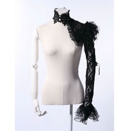Gothic Black Lace And Feathers Shoulder Cuff For Women