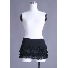 Gothic Black Pleated Lace Short Skirt For Women