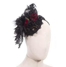 Gothic Black Women's Lace Headdress
