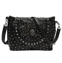 Patchwork Punk Rivets Skull Head Leather Shoulder Bag Messenger Bag Women