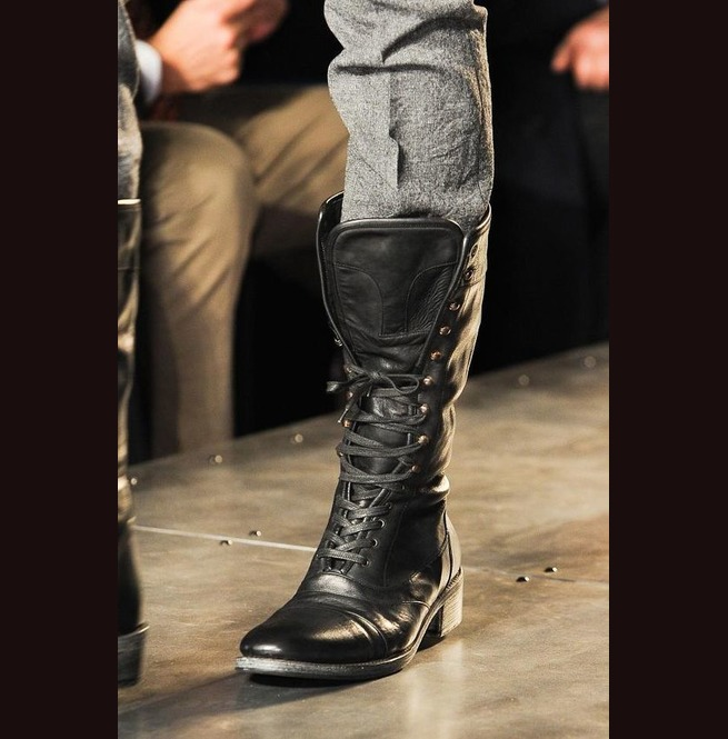 New Handmade Mens Military Style Superb Leather Boots Long Men Boot Leather