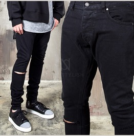 Ripped Cutting Black Skinny Jeans 323