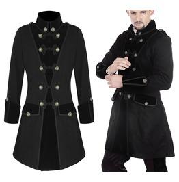 Men Pentagramme Coat Gothic Frock Jacket Black Vtg Coat