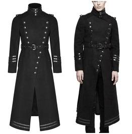 Men Punk Rave Military Coat Steampunk Long Jacket Gothic Vtg Uniform Long C