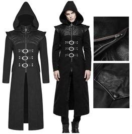 Men Gothic Long Hooded Coat Jacket Black Dieselpunk Punk Faux Leather Coat