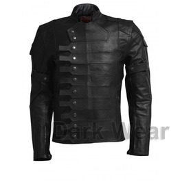 Gothic Punk Military Fashion Leather Jacket Steampunk Movie Costume Jacket