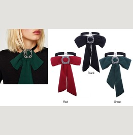 Black Red Green Velvet Choker Gothic Chiffon Bow