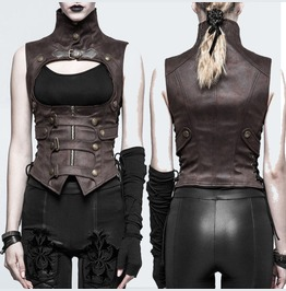 Women Steampunk Waistcoat Brown Buckle Straps Zip Gothic Women Vest Waistco