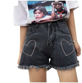 Harajuku Heart Shorts Cute Jeans Grey Blue Womens