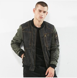 Men Denim Bomber Jacket Fashion Streetwear