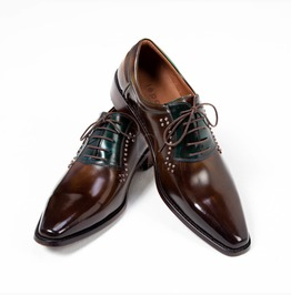 Gradation Emerald Brown Studded Lace Up Shoes 399