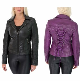Women Sexy Back Lace Leather Jacket Gothic Purple Black Biker Fit Leather J