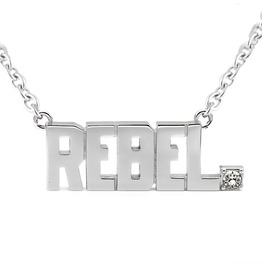 Rebel Pendant Block Letter Necklace With Swarovski Crystal