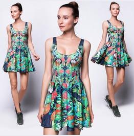 Green Floral Boho Dress