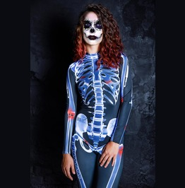 Skeleton Full Body Halloween Jumpsuit Costume