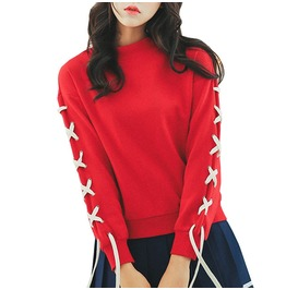 Cute Harajuku Red Lace Sweater Pullover Womens