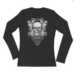 Baroque Skull Long Sleeve Ladies T Shirt