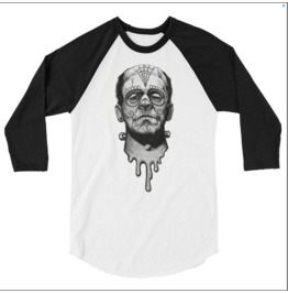 Sugar Skull Frankenstein 3/4 Sleeve Raglan Shirt