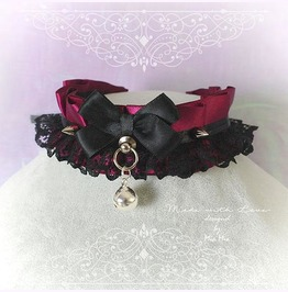 Kitten Pet Play Collar Ddlg Choker Burgandy Red Black Lace Bow Bell