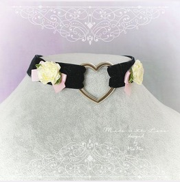 Kitten Pet Play Collar Choker Necklace Black Velvet Heart Pink Bow Rose