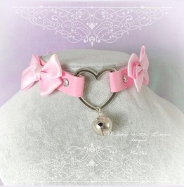 Kitten Pet Play Collar Choker Necklace Pink Faux Leather Heart Bell Bow