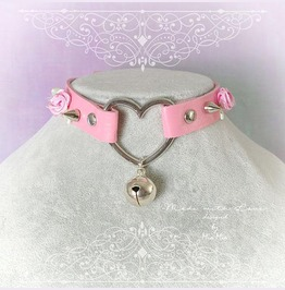 Kitten Play Collar Choker Necklace Pink Faux Leather Heart Bell Spikes Rose