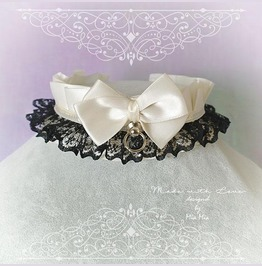 Kitten Pet Play Collar Ddlg Choker Necklace Beige Black Lace Bow O Ring