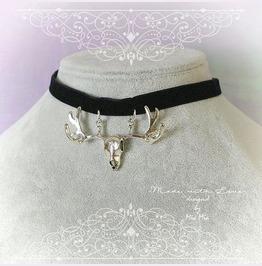 Choker Necklace Deer Horn Skull Pendant Black Velvet Jewelry Goth