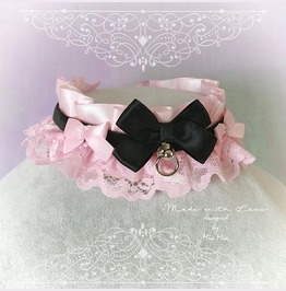 Kitten Pet Play Collar Ddlg Necklace Baby Pink Lace Black Bow O Ring