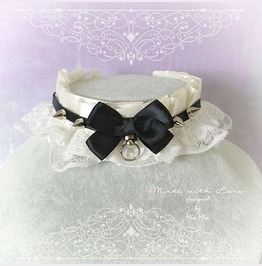 Kitten Pet Play Collar Ddlg Choker Necklace Beige White Lace Spikes Bow