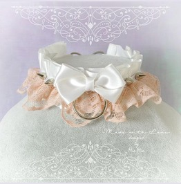 Kitten Pet Play Collar Ddlg Necklace White Satin Pink Lace Bow O Ring Spike