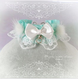 Kitten Pet Play Collar Ddlg Necklace Mint Green White Fue Ball Bow O Ring