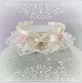 Kitten Pet Play Collar Ddlg Choker Necklace Beige White Lace Bow Ring Rose